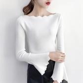 針織衫 2019秋季新款一字領長袖毛衣百搭修身喇叭袖洋氣打底針織衫女上衣 4色