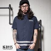 【BTIS】下擺條紋拼接 短袖襯衫 / 丈青色