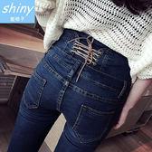 【V0231】shiny藍格子-簡單流線.修身後腰綁帶高腰牛仔小腳鉛筆褲