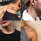 【1份56張】英文紋身貼防水男女持久仿真字母人體彩繪紋身貼紙【橘社小鎮】