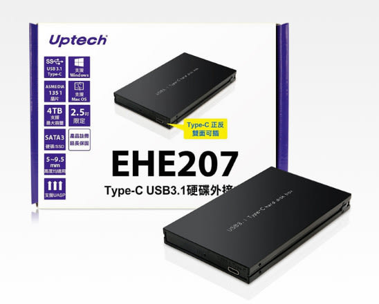 [ 中將3C ]   Uptech 登昌恆 EHE207 USB3.1 2.5吋硬碟外接盒 EHE-207