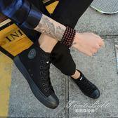 男士加絨高幫帆布鞋純黑色潮流男鞋百搭高邦休閒鞋冬鞋上班鞋棉鞋【果果精品】