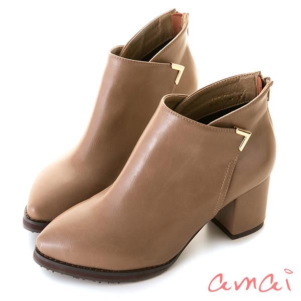 amai側交叉金屬裝飾粗跟短靴 灰