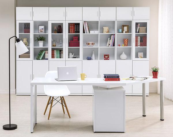 【森可家居】艾美白色1.3尺單門書櫃(右開)(單只-編號2) 7HY500-2 北歐風 MIT 台灣製造
