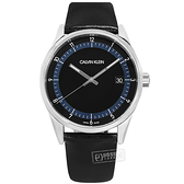 CK / KAM211C1 / 典藏品味 礦石強化玻璃 日期 瑞士製造 皮革手錶 黑色 43mm