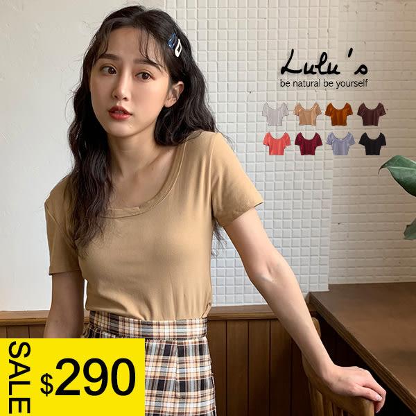 LULUS特價-Y包邊圓領短版短袖上衣-8色  【01190329】