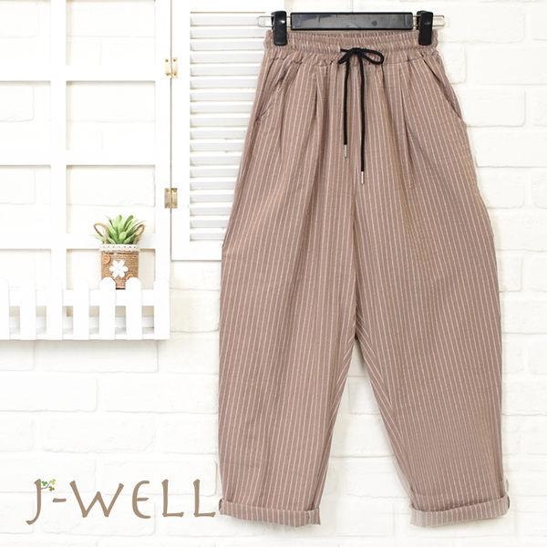 J-WELL 綁帶條紋男友褲(2色) 8J1501
