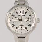 【萬年鐘錶】星辰 CITIZEN Wicca 三眼時尚設計女腕錶  銀白x銀 33mm  BH7-512-11