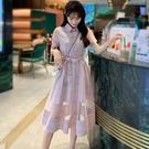 襯衫洋裝 連身裙夏裝網紗格子裙收腰顯瘦氣質襯衫中長裙子女夏學生-Ballet朵朵