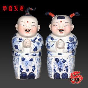 手繪傳統人物雕塑瓷恭喜發財