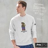 【JEEP】北極熊圖騰長袖T恤 (灰白)