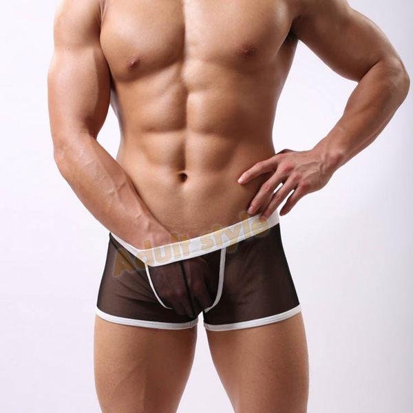 男性內褲 四角褲 U弧3D囊袋(潮黑)超薄透氣網紗平角褲-XL號『滿千88折』