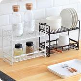優思居 鐵藝調料架 廚房台面調味品收納架雙層落地架調味瓶置物架『韓女王』