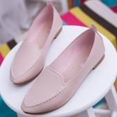 春秋季四季鞋尖頭女鞋平底簡約小白鞋淺口單鞋平跟休閑鞋工作鞋女