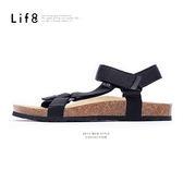 Casual 織帶 牛皮墊 可調式記憶涼拖鞋【09625】