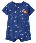 Carter's 連身衣 包屁衣  藍色太空星球圖案短袖連身衣 3M