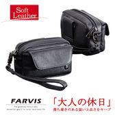 現貨配送【FARVIS】日本機能包品牌 真皮牛皮革 腰包 隨身掛包 手機包 手拿包 柔軟皮革【4-360】
