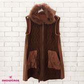 【SHOWCASE】毛領造型連帽波浪織紋長版針織背心(咖)