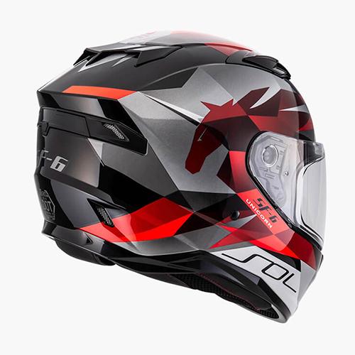 【東門城】SOL SF-6 獨角獸(黑紅) 全罩式安全帽 雙鏡片(預購新品)