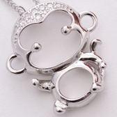 925純銀項鍊鑲鑽-猴子造型時尚迷人流行銀飾女吊墜子73y109[巴黎精品]