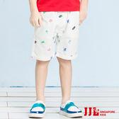 JJLKIDS 男童 小機器人點綴五分休閒褲(白色)