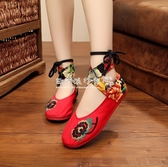 繡花鞋女鞋民族風綁帶繡花鞋紅色婚鞋跳舞鞋低跟媽媽鞋單鞋 歐韓流行館