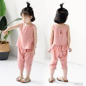 女童套裝2018新款韓版女孩兒童女寶寶時尚洋氣夏裝棉麻兩件套潮衣