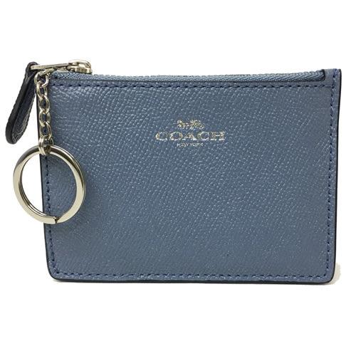 【COACH】壓印馬車款素面皮革零錢包鑰匙包悠遊卡(灰藍)
