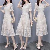 蕾絲連衣裙女2018新款韓版喇叭袖V領洋裝裙冷淡風顯瘦長裙 EY4276 『優童屋』