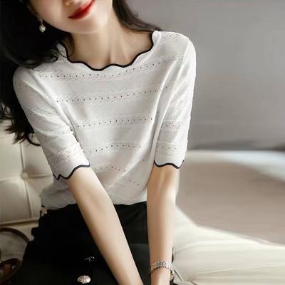 涼感上衣~冰絲針織短T~撞色波浪飾邊針織短袖TBF19A愛尚布衣