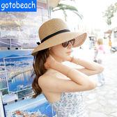 可摺疊草帽太陽帽子女夏海邊大帽檐禮帽旅行度假遮陽沙灘帽女帽子限時八九折
