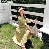 中大尺碼 V領腰繫帶格紋長洋裝 - 適XL~4L《 68387 》CC-GIRL