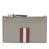 茱麗葉精品【全新現貨】BALLY 6238464 SANDHY 金屬LOGO品牌條紋防刮鑰匙零錢包.灰