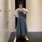 背帶裙寬鬆牛仔背帶裙秋季新款韓版網紅復古時尚中長款過膝洋裝女