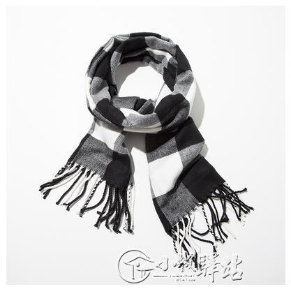 兒童圍巾 男童秋冬新款韓版百搭仿羊絨格子保暖男孩圍脖寶寶圍巾潮