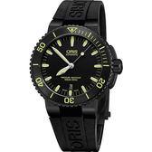 ORIS 豪利時 Aquis 時間之海中型潛水錶-黃時標x黑/43mm 0173376534722-0742634BEB