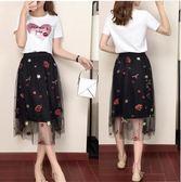 特賣款不退換套裝裙S-XL/32294/新款韓版亮片T恤上衣刺繡網紗半身裙兩件套1號公館
