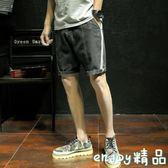 黑五好物節 @港仔文藝男 夏季男士條紋牛仔褲學生短褲寬鬆復古五分褲直筒褲子