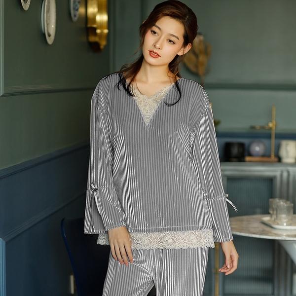 輕奢優雅壓皺金絲絨睡衣褲(灰色)