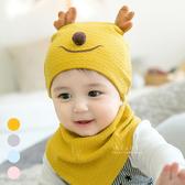 立體小鹿造型嬰兒帽+口水巾2件組 帽子 童帽 睡眠帽 保暖帽 圍兜