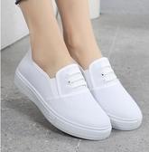 護士鞋春夏厚底白色一腳蹬帆布鞋老北京布鞋板鞋平跟護士鞋女休閒小白鞋 衣間迷你屋