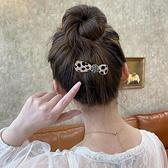 頭飾 韓國豹紋髮夾後腦勺網紅鑲鑚髮卡頂夾一字夾邊夾少女劉海夾子頭飾