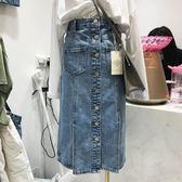 2019夏季韓版大碼胖mm高腰排扣牛仔半身裙女chic顯瘦中長款一步裙 潮人女鞋