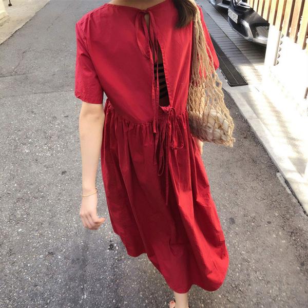 長洋裝 韓版高腰性感綁帶露背短袖洋裝 【D3515】☆雙兒網☆