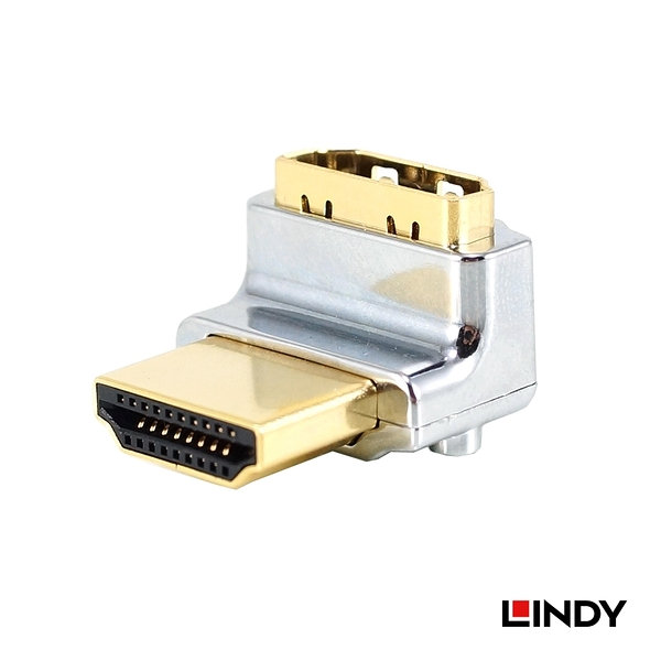 ◤大洋國際電子◢ LINDY 林帝 41506 - CROMO HDMI 2.0鋅合金鍍金轉向頭-A公對A母 垂直向上90度旋轉