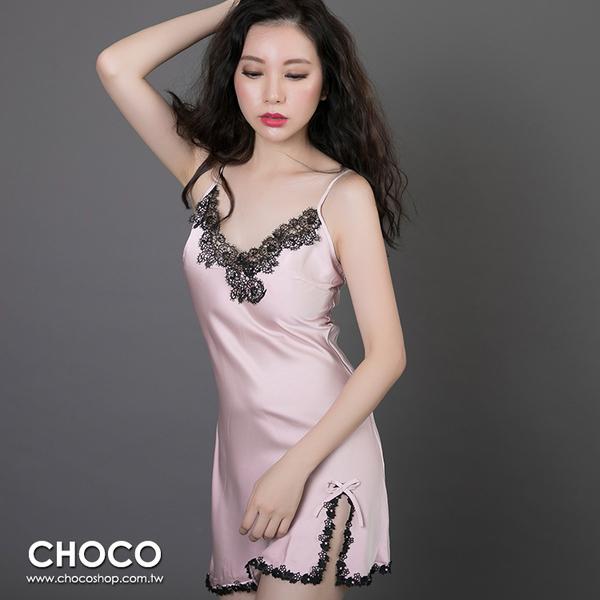 Choco Shop-高雅柔棉‧典雅緞面抽縐性感連身睡衣+睡袍(粉色) M~XL