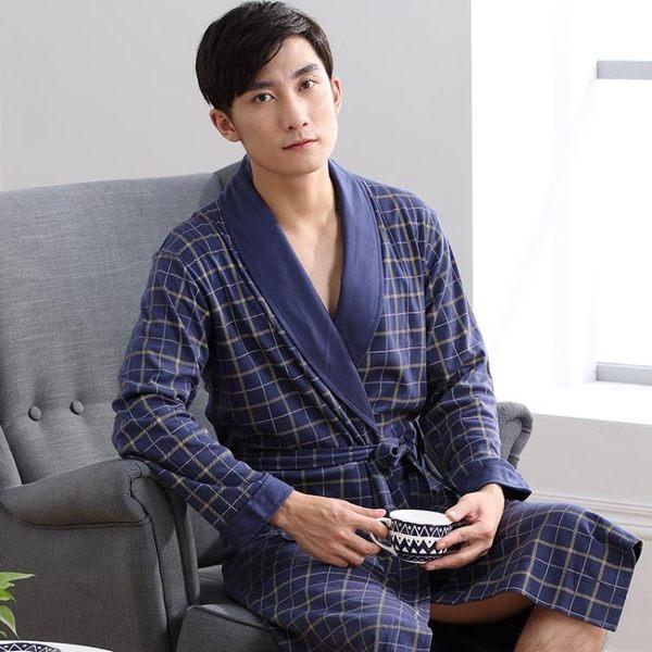 浴袍中老年男士睡袍男長款長袖浴衣全棉睡衣純棉家居服