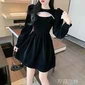 金絲絨洋裝 法式小眾收腰絲絨連身裙女秋冬季中長款黑色裙子顯瘦A字短裙 芊墨左岸