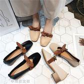 高跟鞋淺口蝴蝶結奶奶鞋女方頭平底小皮鞋 百搭休閒女鞋辛瑞拉
