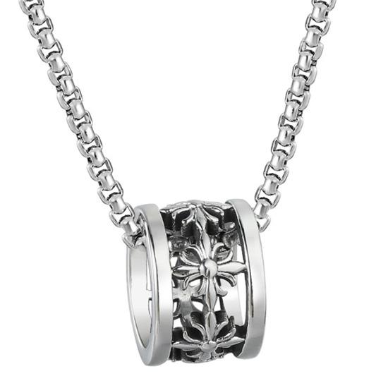 《QBOX 》FASHION 飾品【CHE853】精緻個性歐美復古十字架運轉圈鑄造鈦鋼墬子項鍊/掛飾